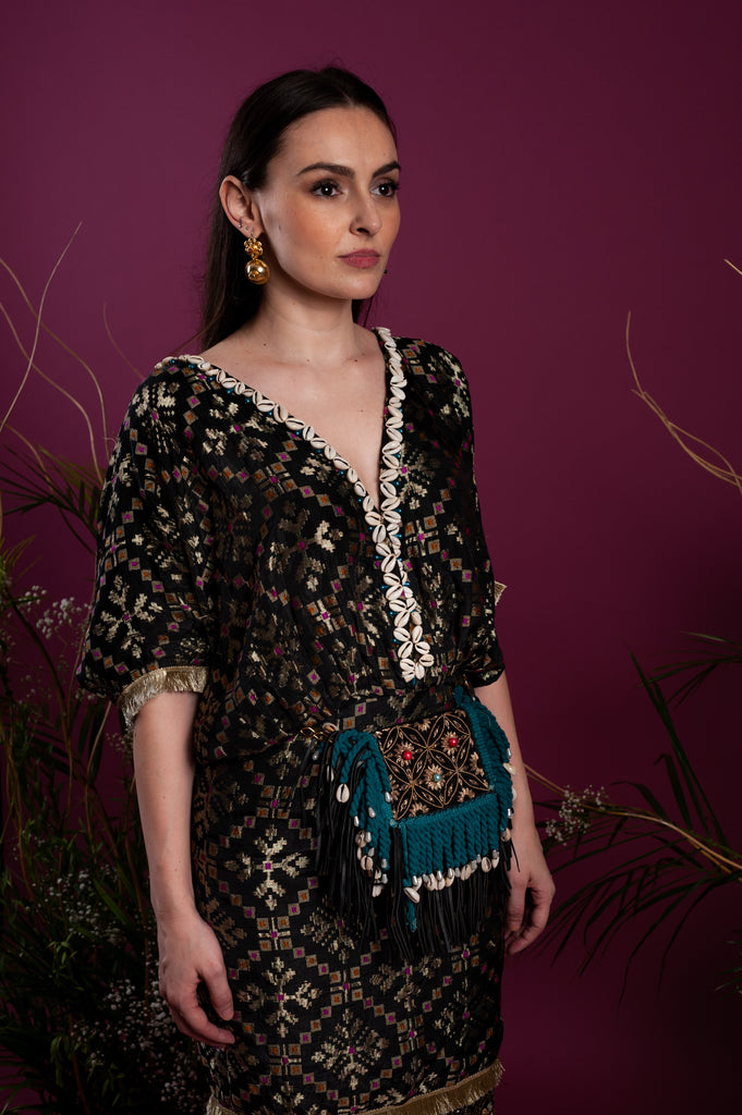 Teal and Black Brocade Kaftan Dress-Kaftan-TARA THAKUR-6degree.store