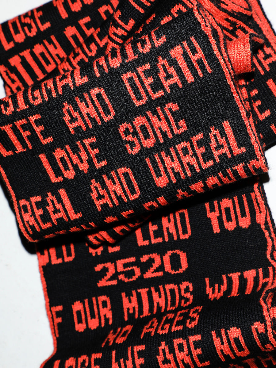 Quotes Jacquard Long Knit Scarf BLKxORG