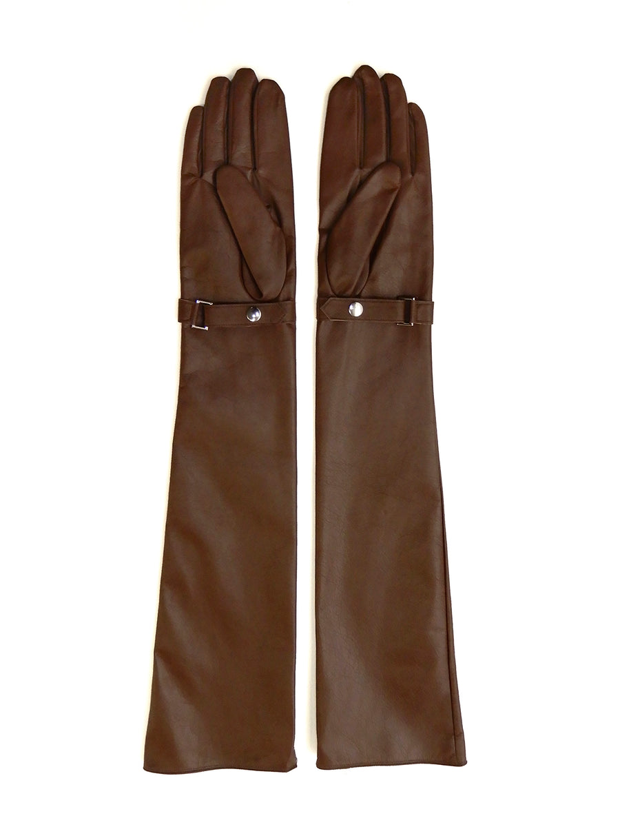 Zip Long Gloves (WOMENS) BRN