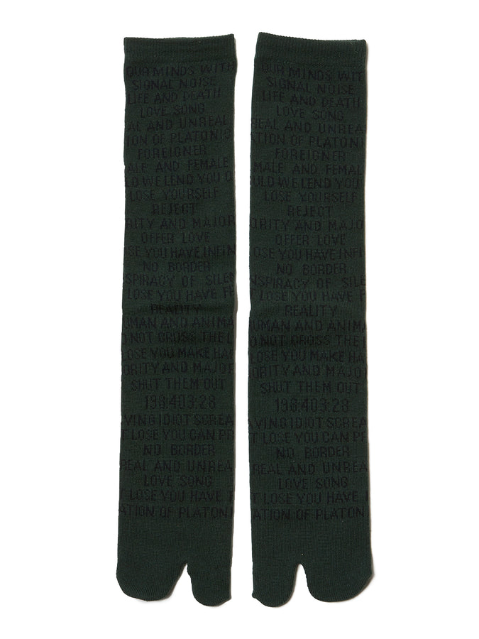 Quotes Jacquard Socks GRNxBLK
