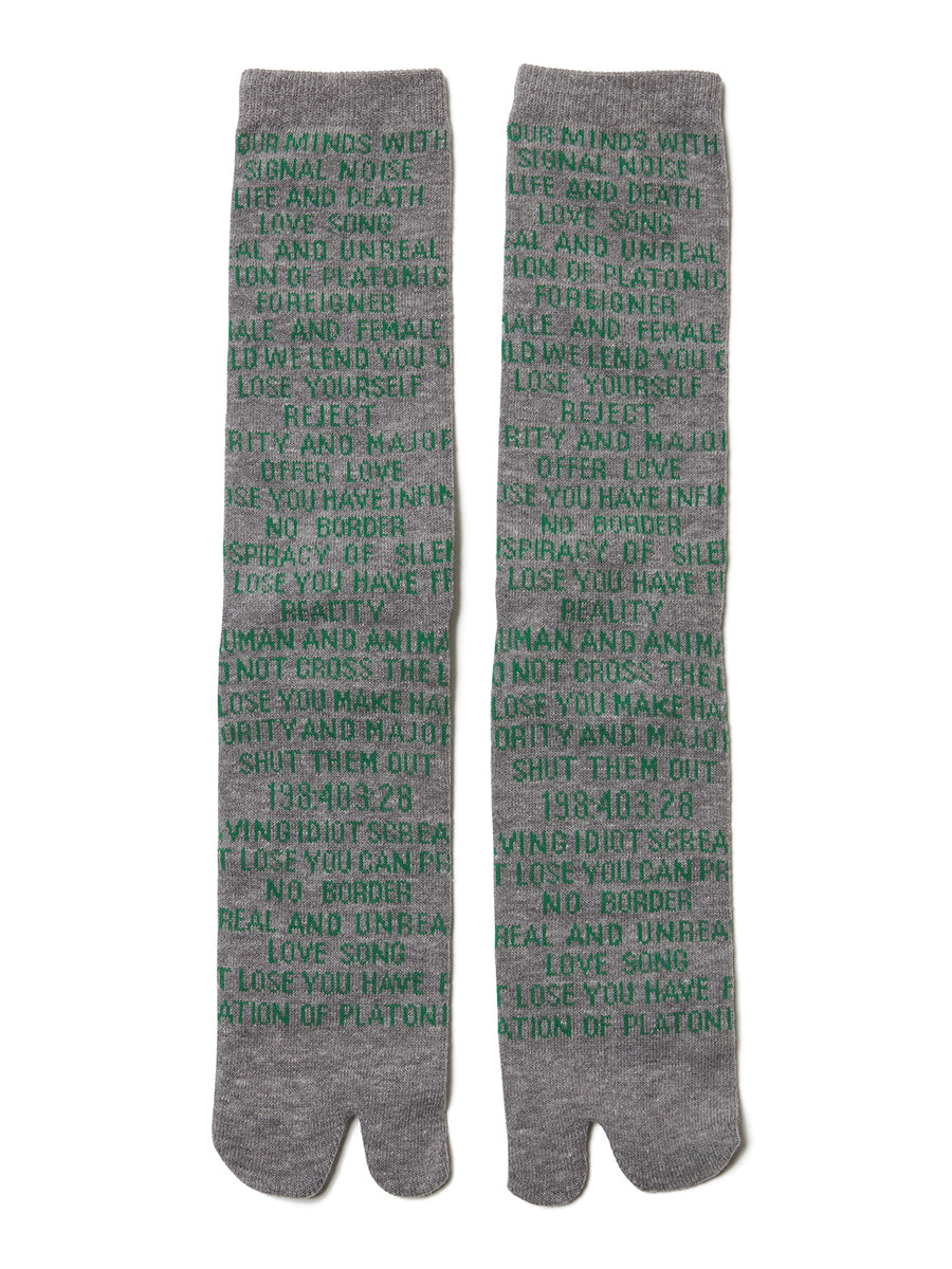 Quotes Jacquard Socks GRYxGRN