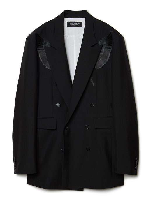 Feather Embroidery Double-breasted Jacket BLK