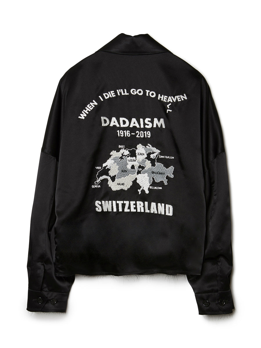 Oversized Satin Vietnam Jacket BLK
