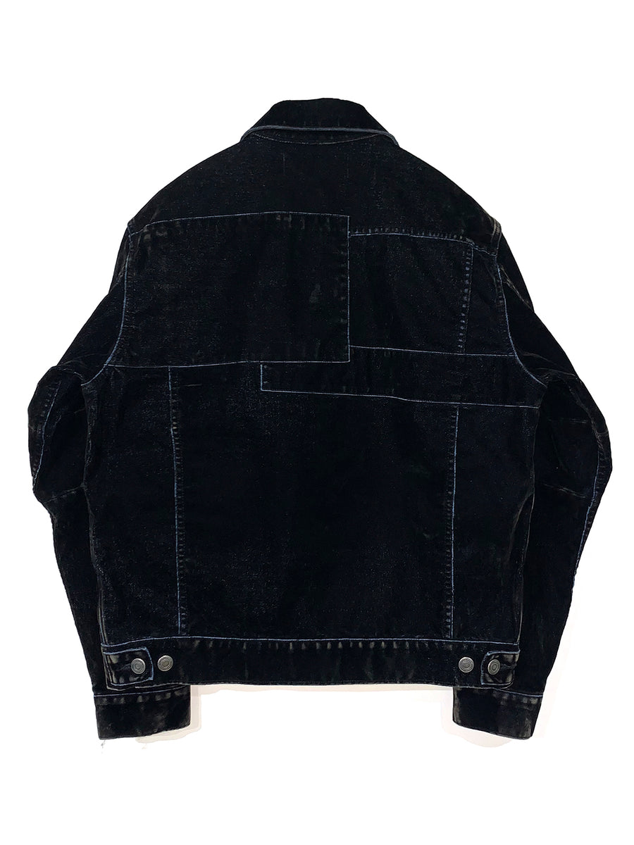 Flock-print Patchwork Denim Jacket BLK