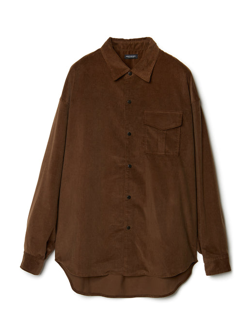 Patch-pocket Narrow Wale Button Shirt BRN