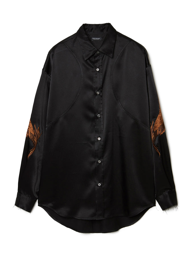 Feather Embroidery Satin Shirt BLK
