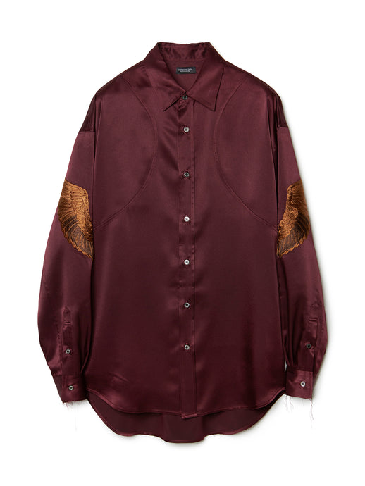 Feather Embroidery Satin Shirt BRD
