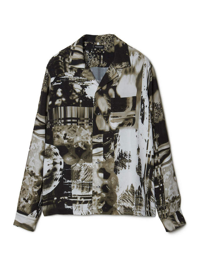 Graphic Print Open-collar Long Sleeve Shirt BLK