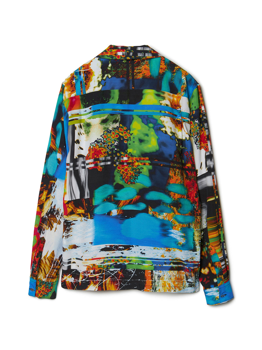 Graphic Print Open-collar Long Sleeve Shirt MLT