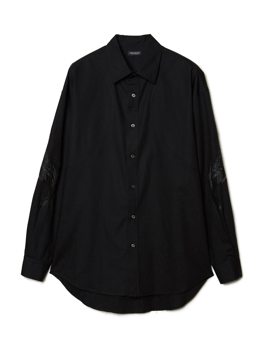 Feather Embroidery Shirt BLK