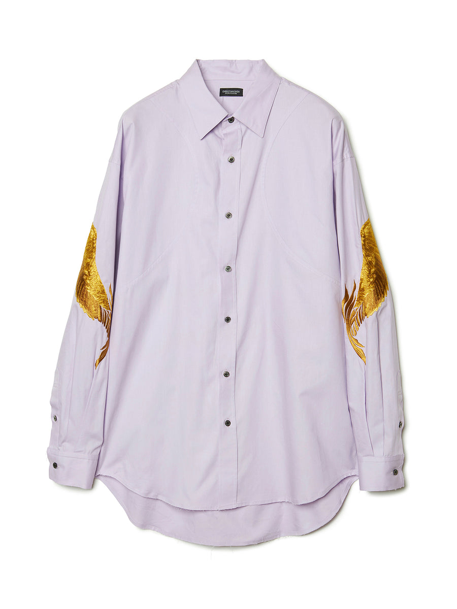 Feather Embroidery Shirt LAV