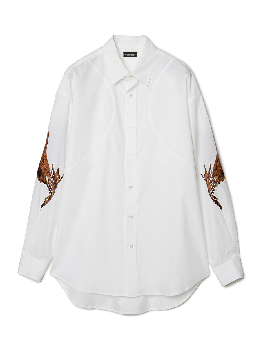 Feather Embroidery Shirt WHT