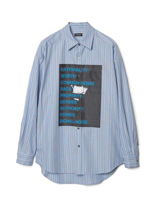 Graphic Print Stripe Shirt BLU