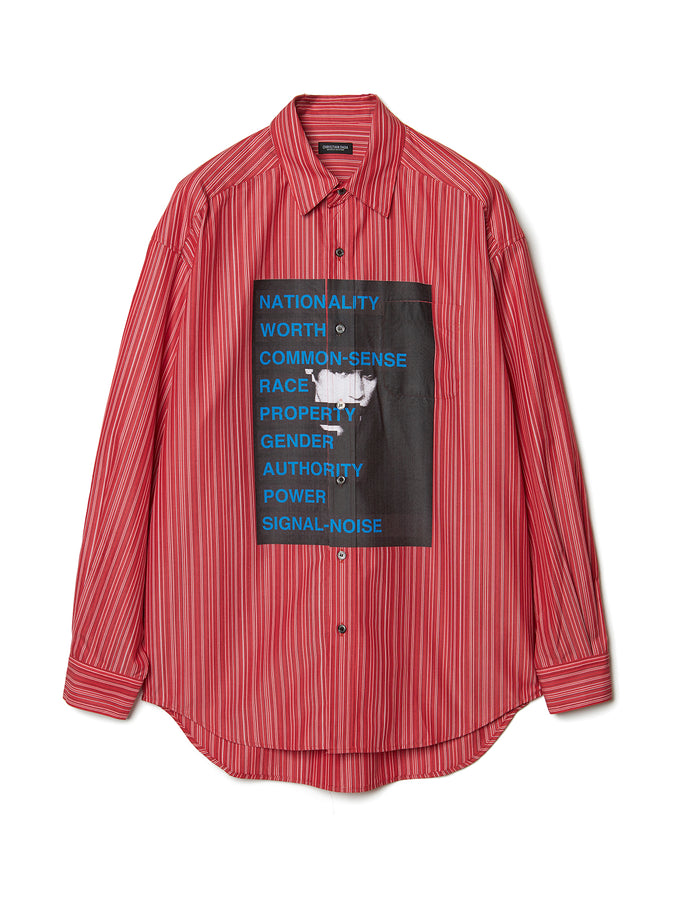 Graphic Print Stripe Shirt RED