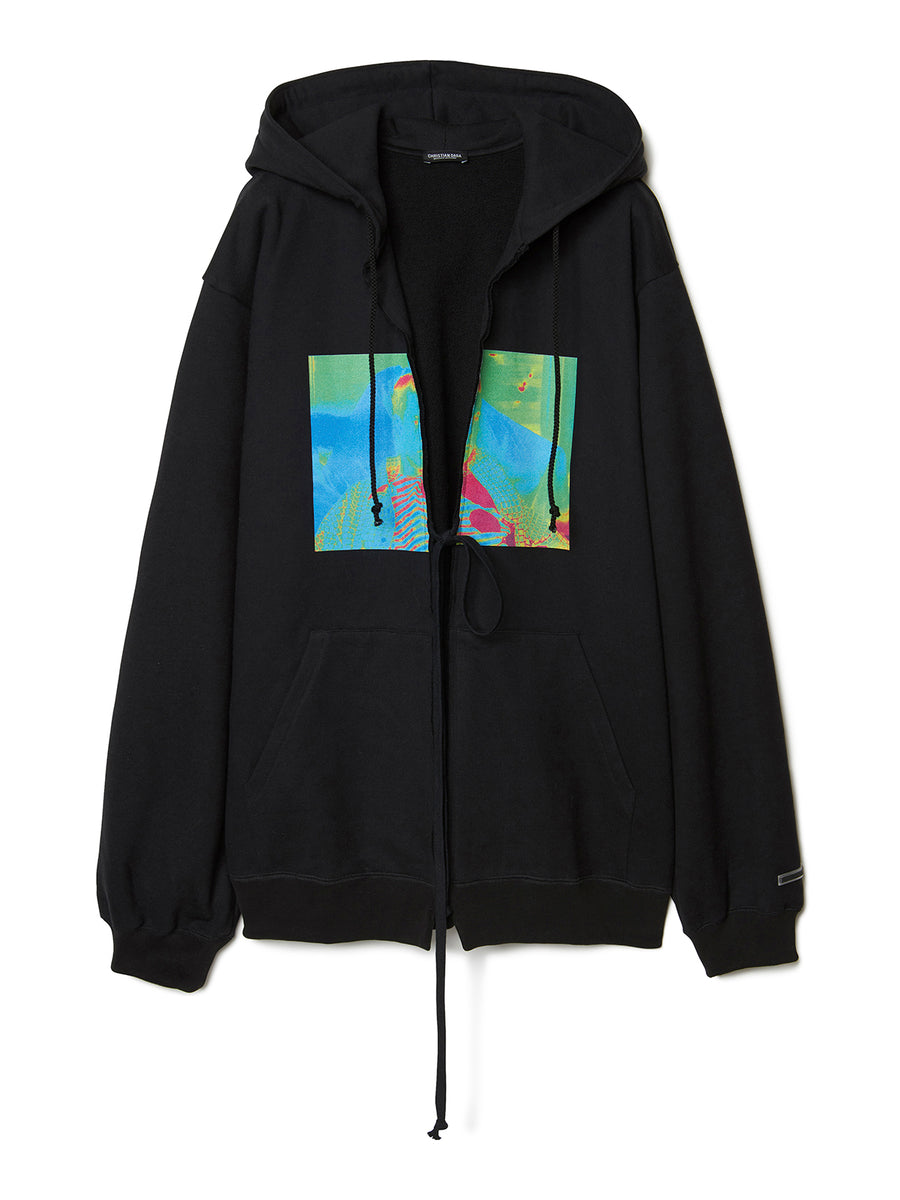 Graphic Print Oversized Hoodie BLK