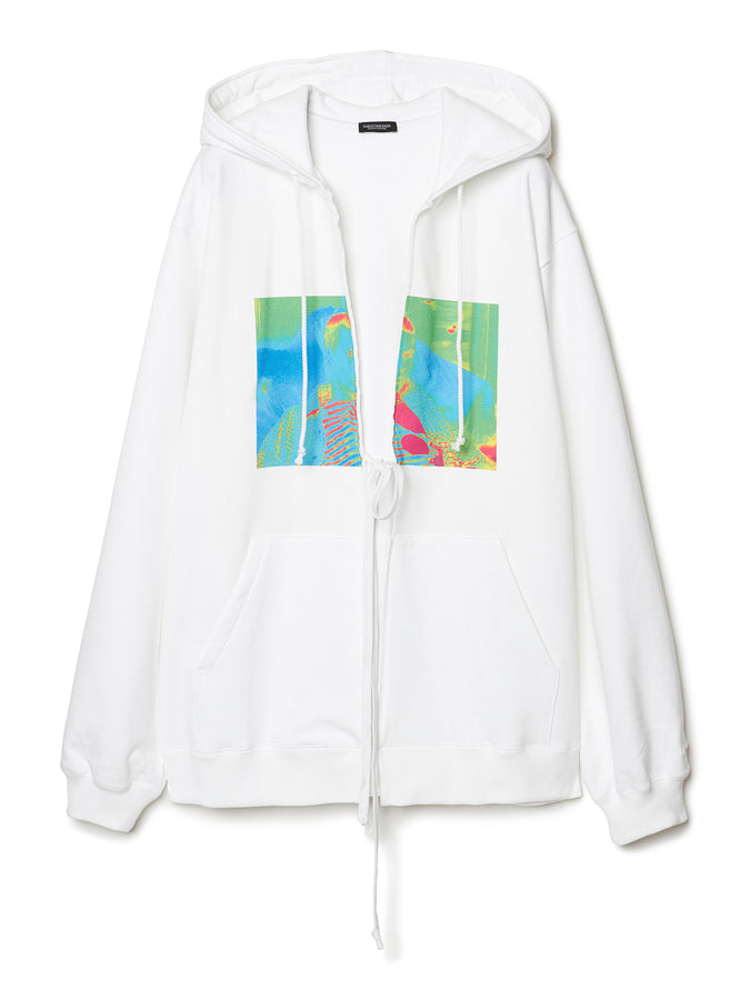 Graphic Print Oversized Hoodie WHT