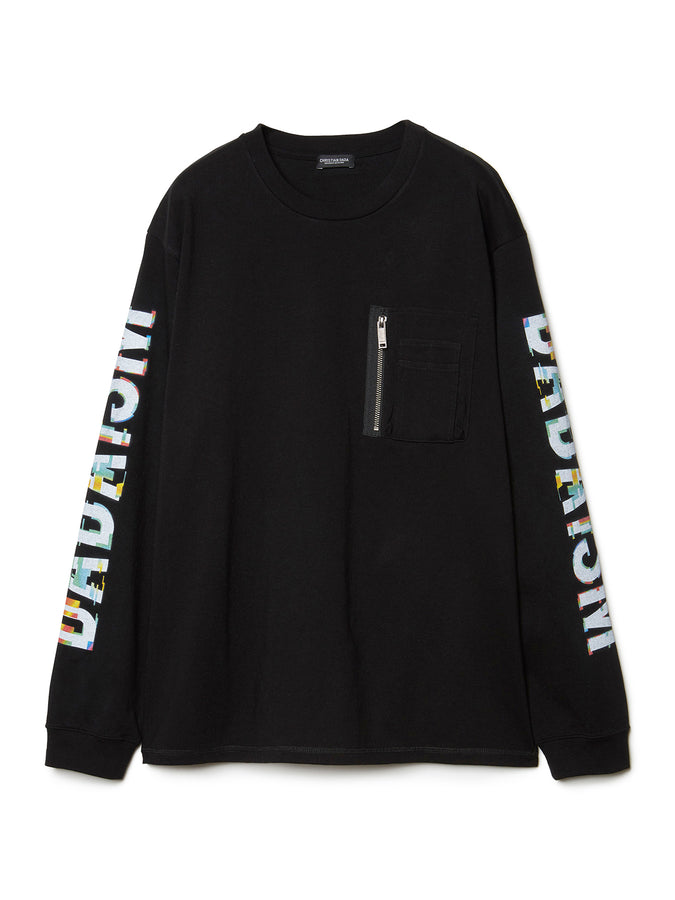 Graphic Print Long Sleeve Pocket T-shirt BLK