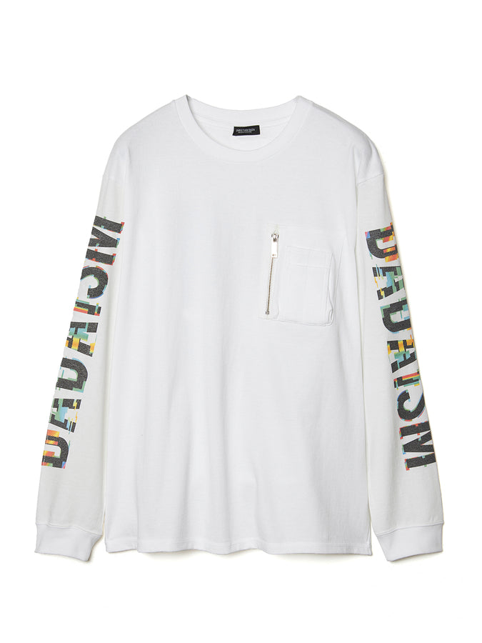 Graphic Print Long Sleeve Pocket T-shirt WHT