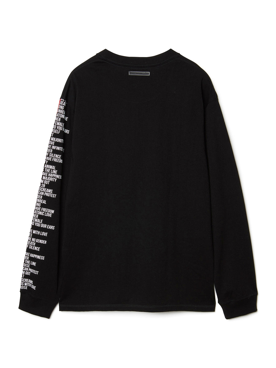 Graphic Print Long Sleeve T-shirt BLK
