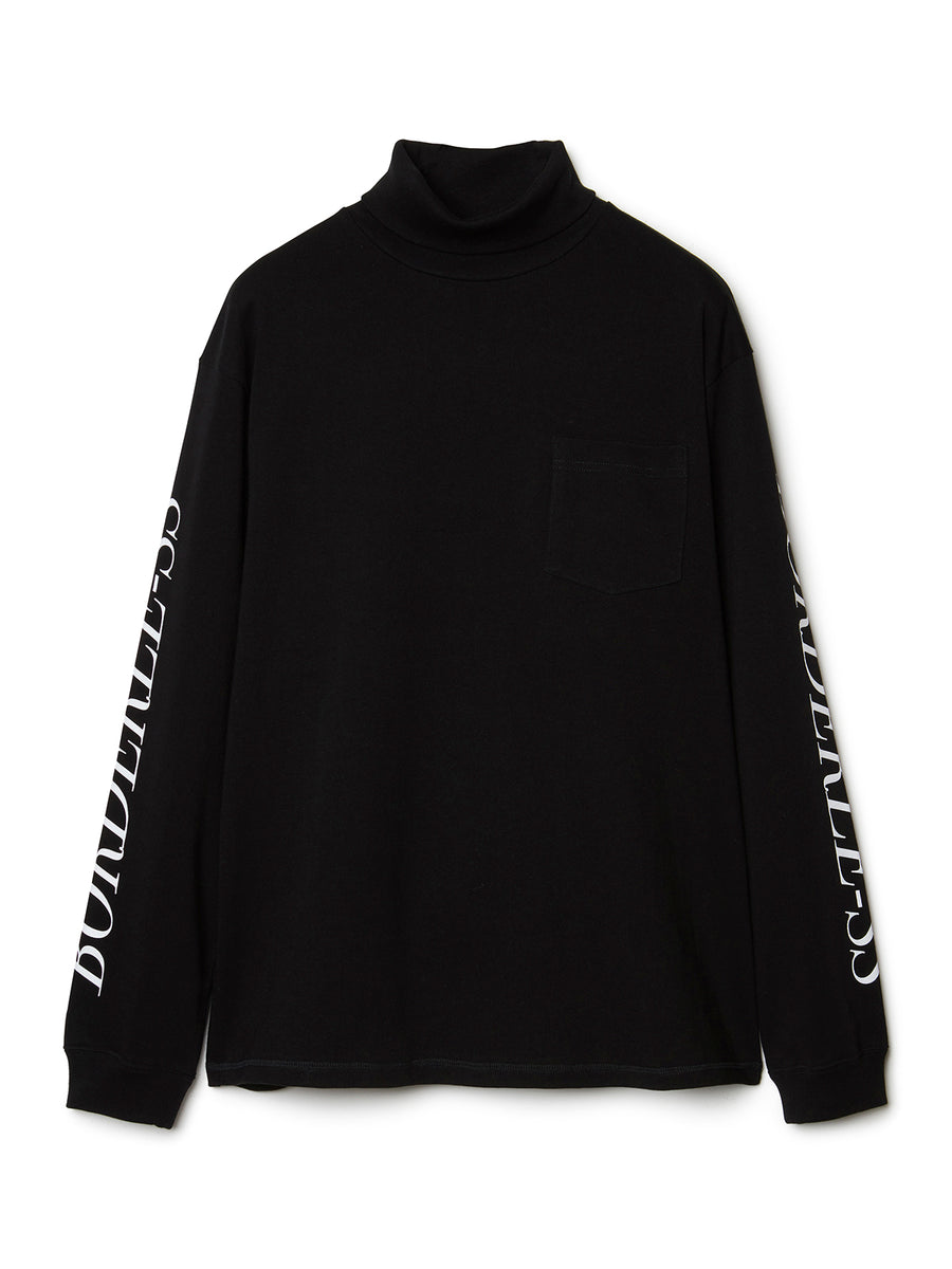 BORDERLESS Print Turtleneck Long Sleeve T-shirt BLK