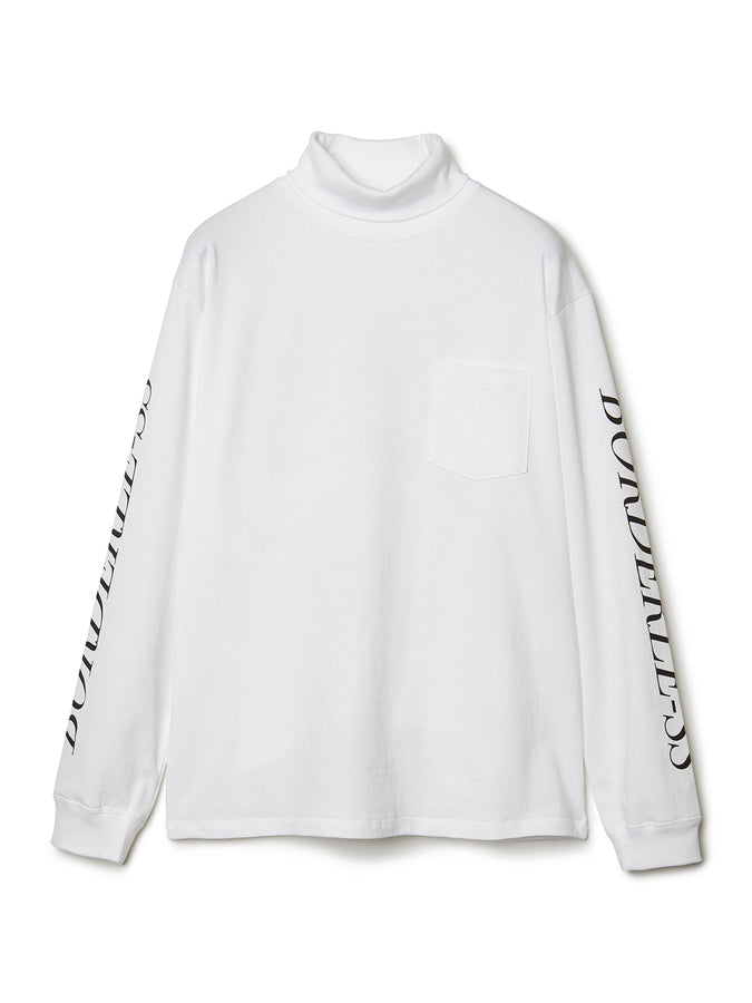 BORDERLESS Print Turtleneck Long Sleeve T-shirt WHT