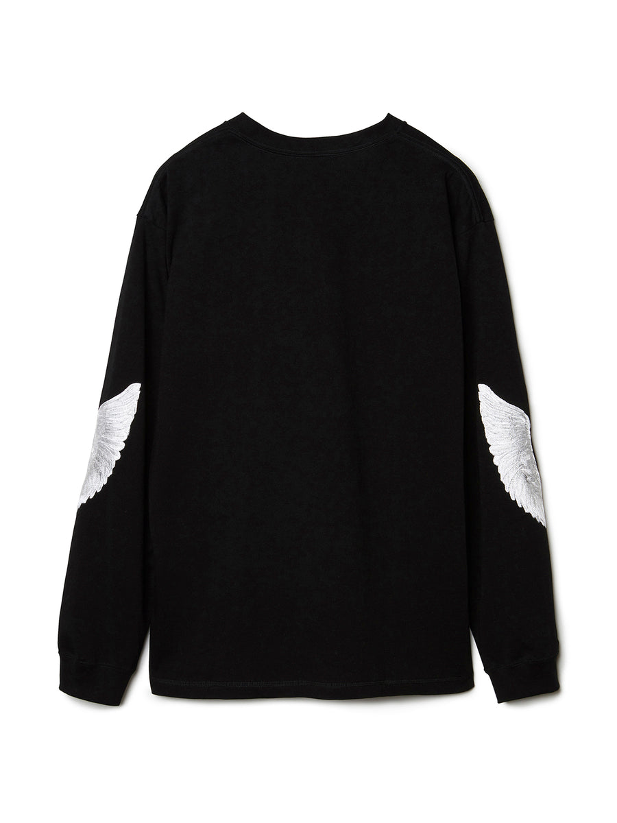 Feather Embroidery Long Sleeve T-shirt BLK
