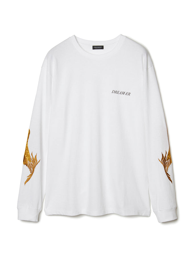 Feather Embroidery Long Sleeve T-shirt WHT