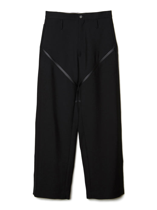 Taped Wool Zip Trousers BLK