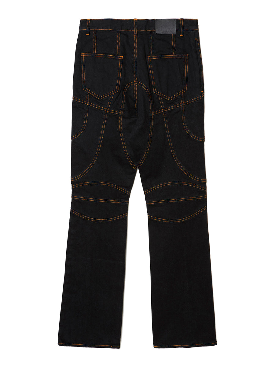 Paneled Bootcut Denim Trousers BLK