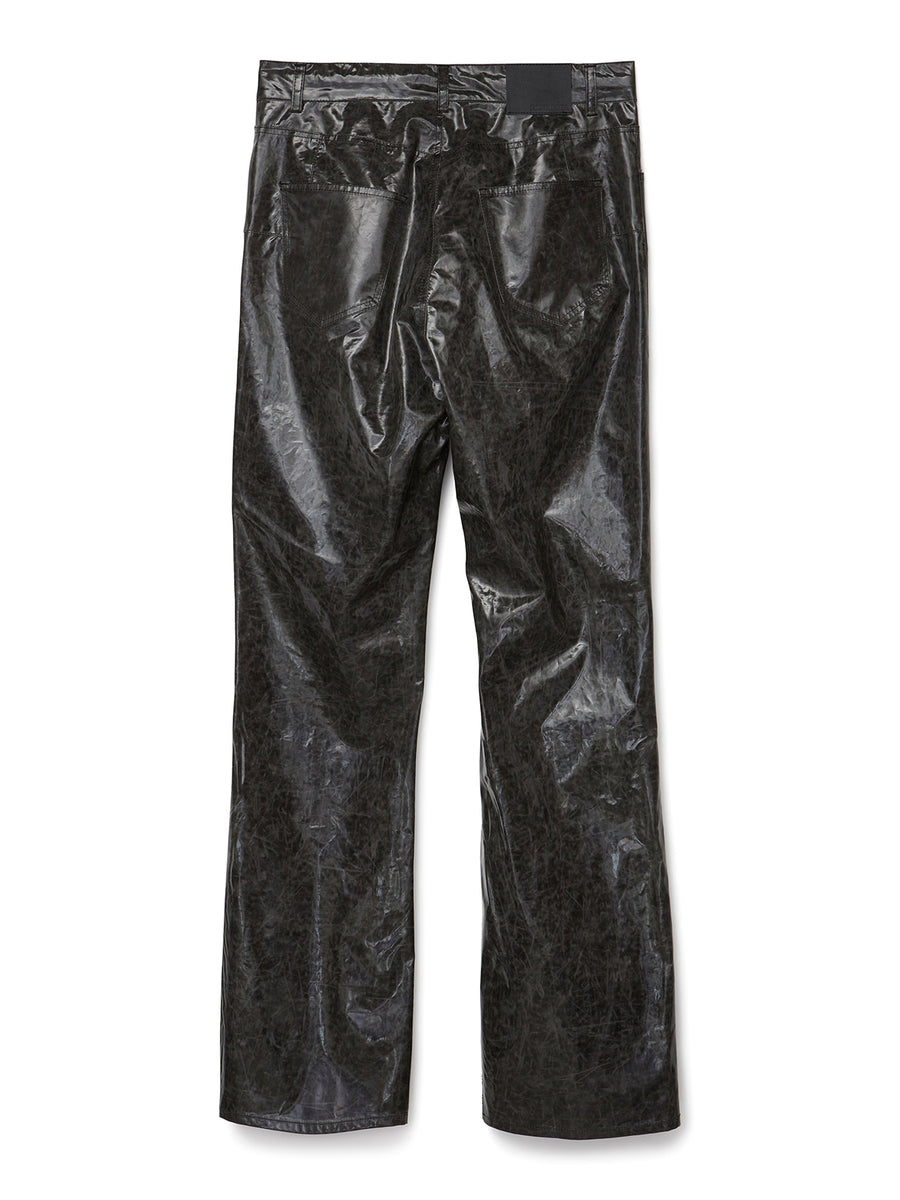 Crack Coating Bootcut Trousers BLK