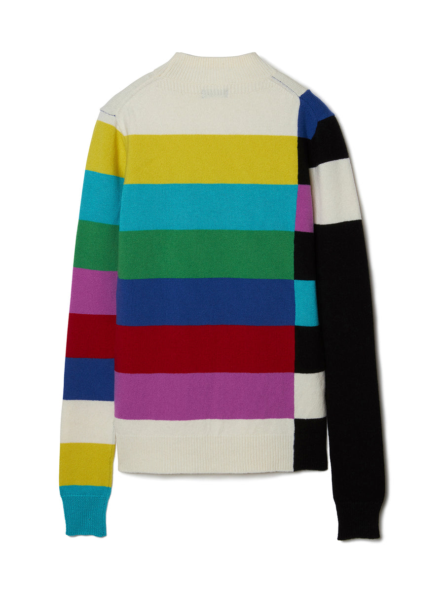 Color Bars Mock neck Knit Sweater MLT