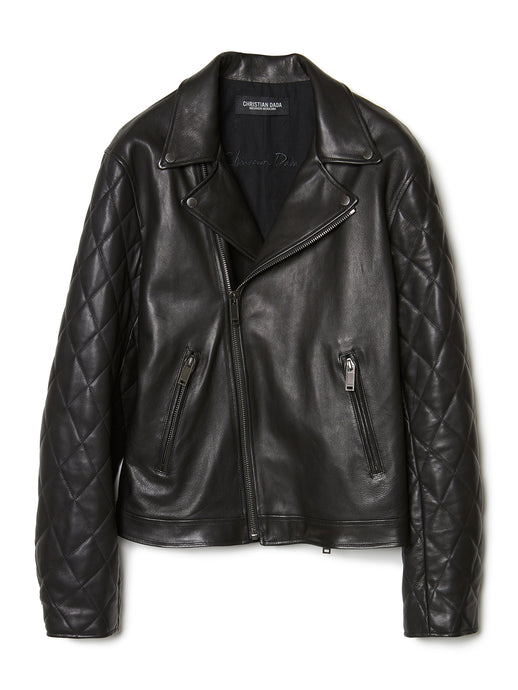 Quilted Sleeve Leather Motorcycle Jacket BLK