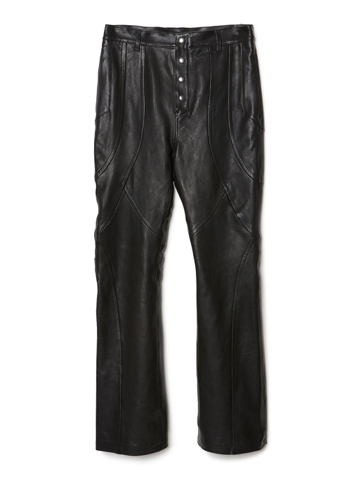 Paneled Leather Trousers BLK