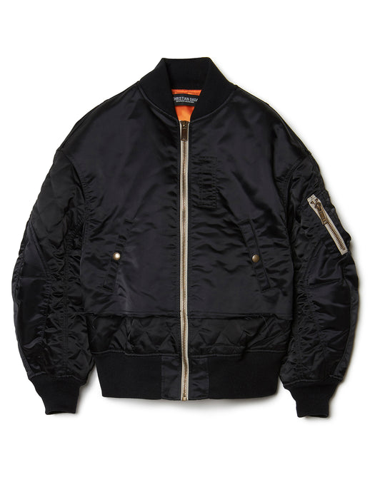 Nylon Quilted Bomber Jacket BLK
