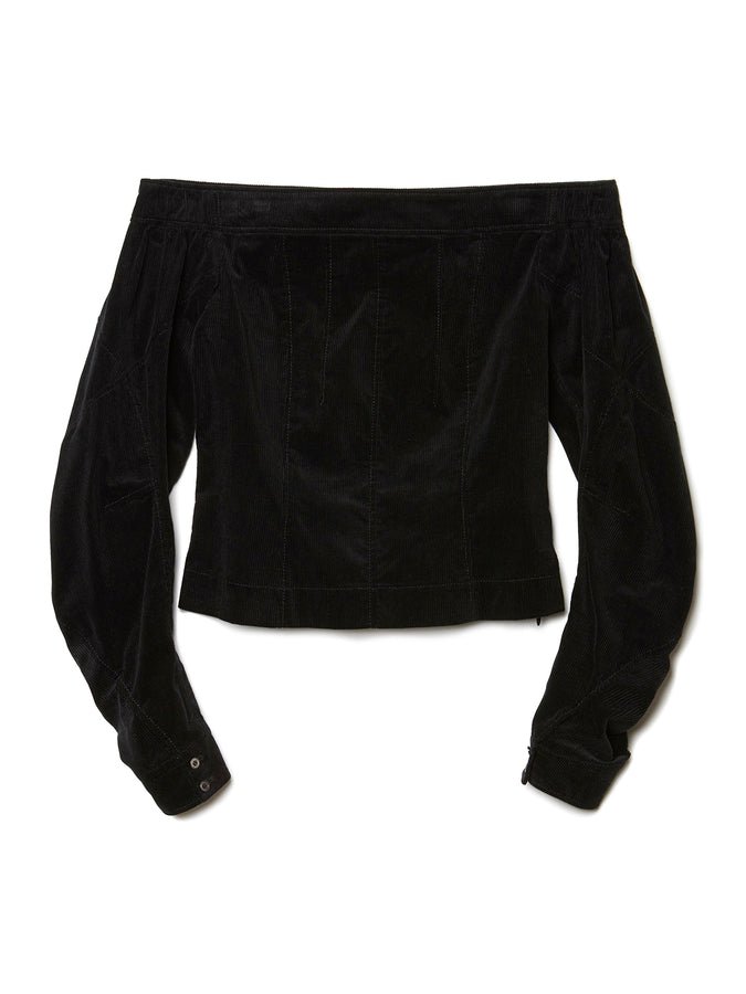 Off The Shoulder Corduroy Shirt BLK