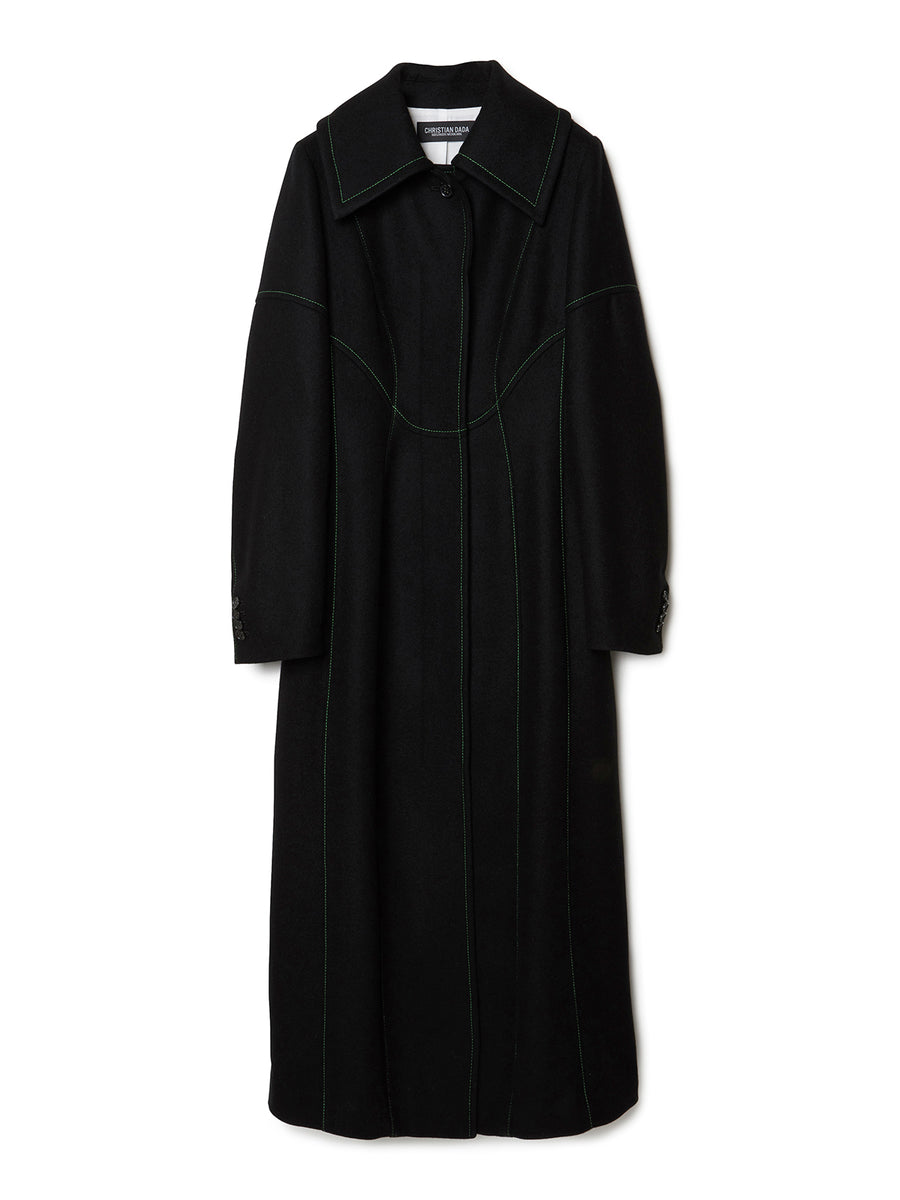 Soutien Collar Paneled Long Coat BLK