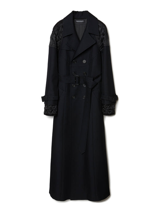 Combined Quilted Trench Coat BLK