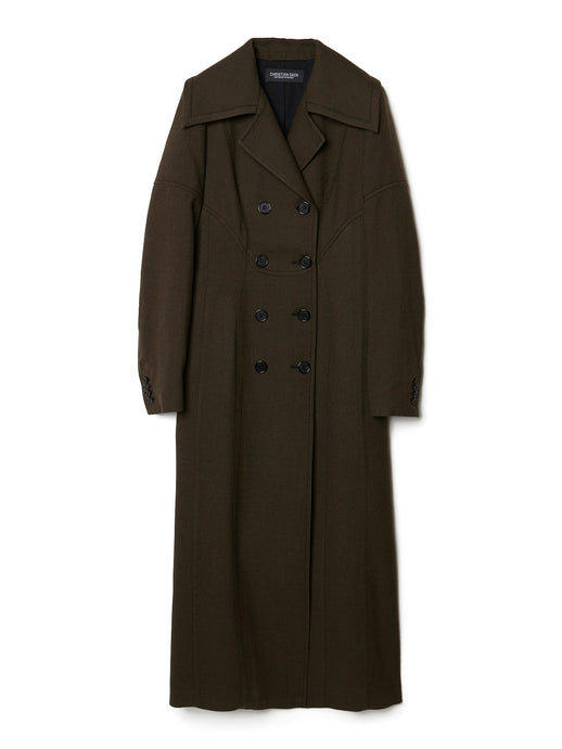 Double-breasted Paneled Long Coat OLV