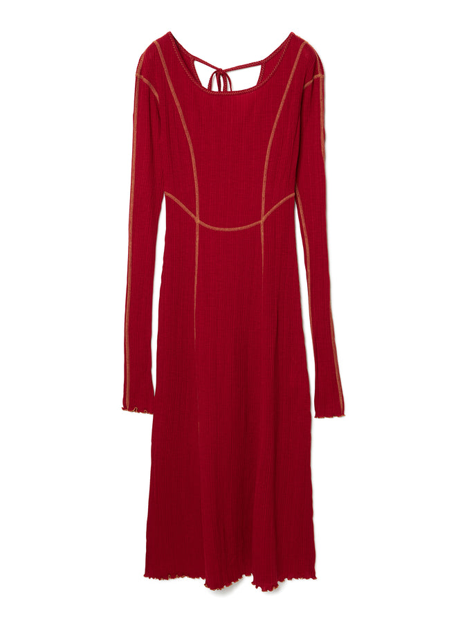 Ribbed Jersey Dress RED