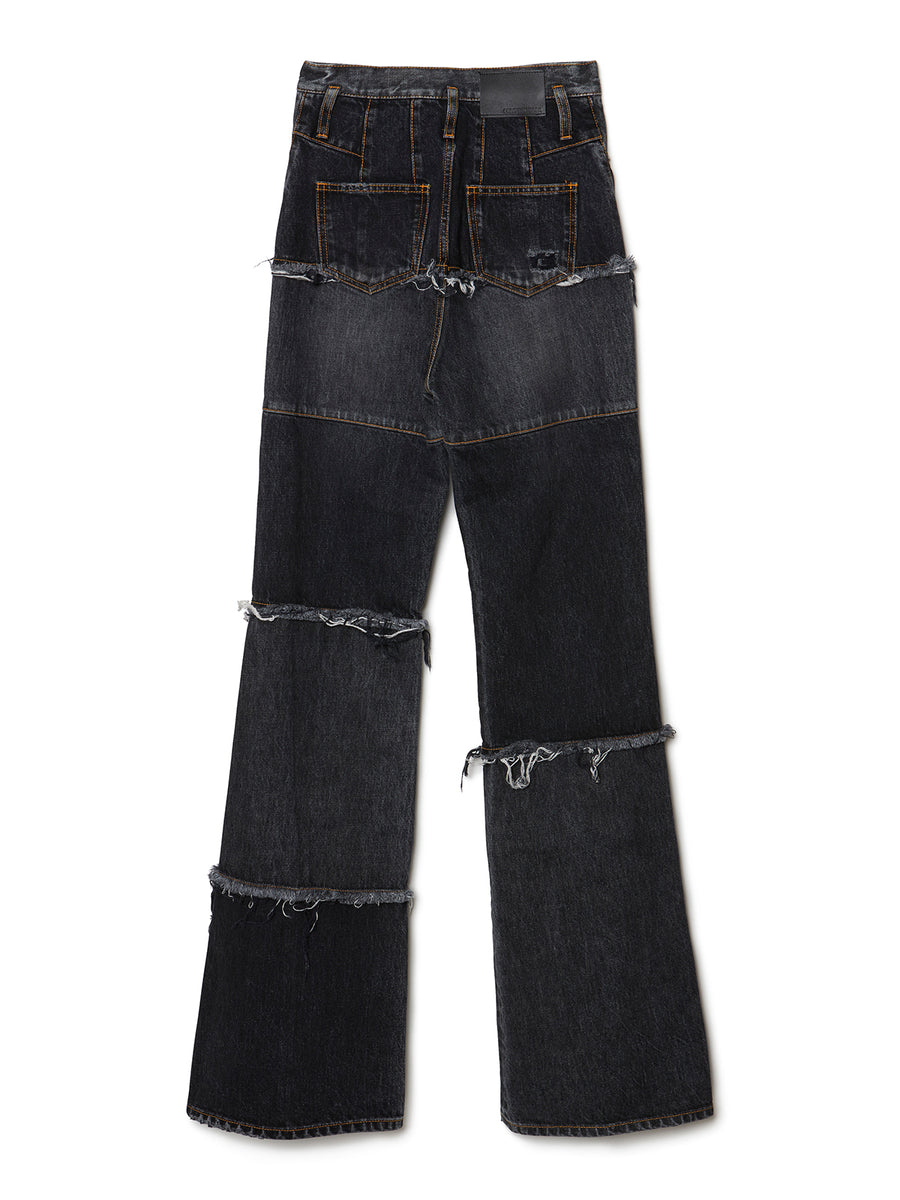 Side Zip Tiered Denim Bell Bottoms BLK
