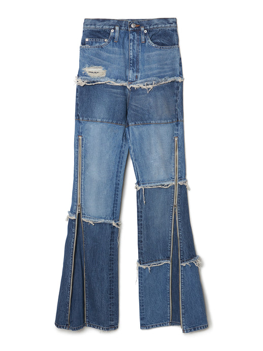 Side Zip Tiered Denim Bell Bottoms IDG