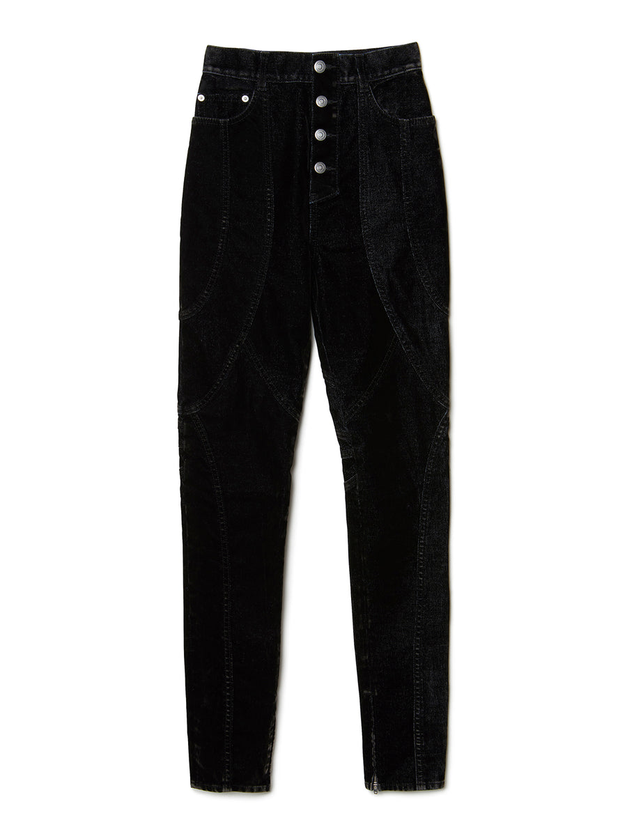 Flock-print Denim Skinny Trousers BLK
