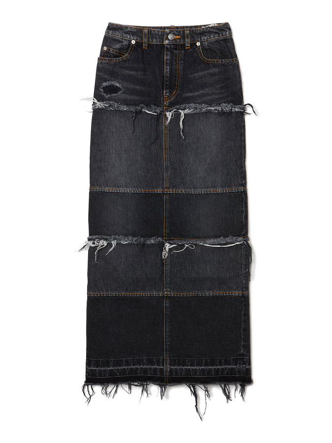 Tiered Denim Long Skirt BLK