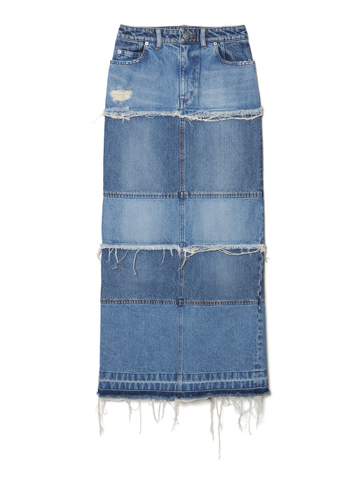 Tiered Denim Long Skirt IDG