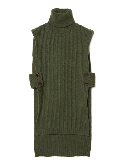 Turtleneck Knit Long Vest KHA