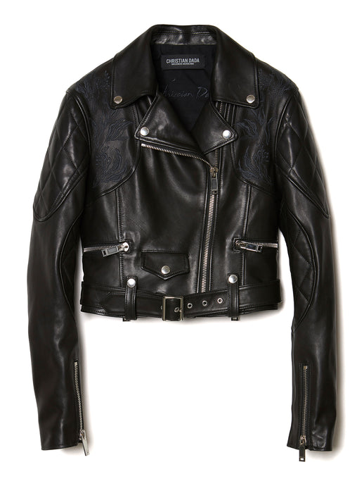 Flower Embroidery Leather Motorcycle Jacket BLK