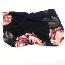 Load image into Gallery viewer, Pink Roses on Black TriFold Twisty Headband