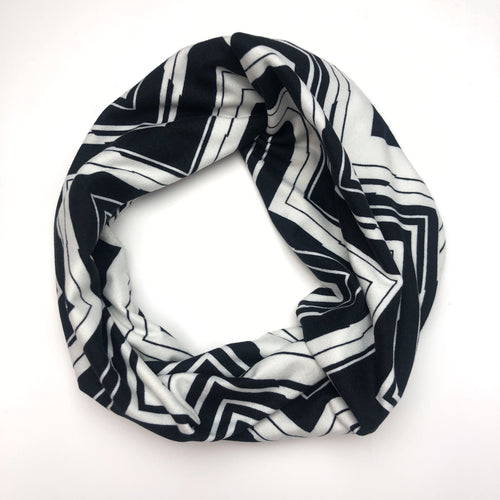 Black and White Chevron Tri-Fold Twisty Headband