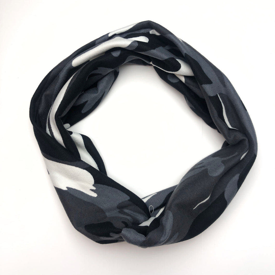 Black & White Camo Tri-Fold Twisty Headband