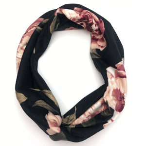 Pink Roses on Black TriFold Twisty Headband